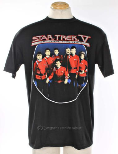 VTG 80 Star Trek V The Final Frontier Crew T Shirt Size L Black Mens Collectible