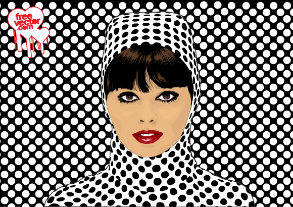 Cool pop art girl vector illustration of beautiful woman on black and white op art background sixties style vector art poster and postcard graphics of sexy