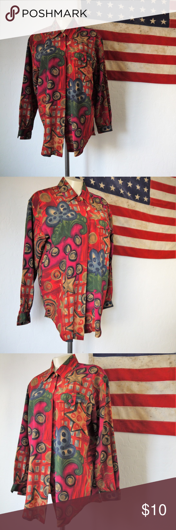 27757cb6 vintage avant garde button up 80s top made by Christie & Jill ready to wear  size small 100% polyester made in Hong Kong vintage Tops