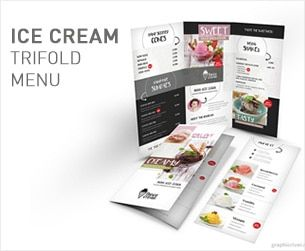 ice cream restaurant trifold menu clean and vintage style tri fold