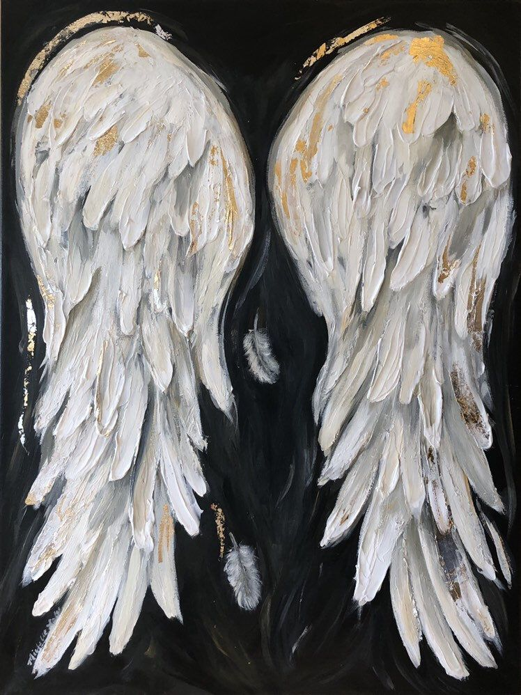 Angel Wings Painting, 18x24 acrylic Gold and Silver Metal