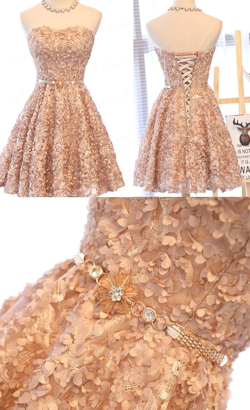Applique homecoming dresses pink alineprincess homecoming dresses
