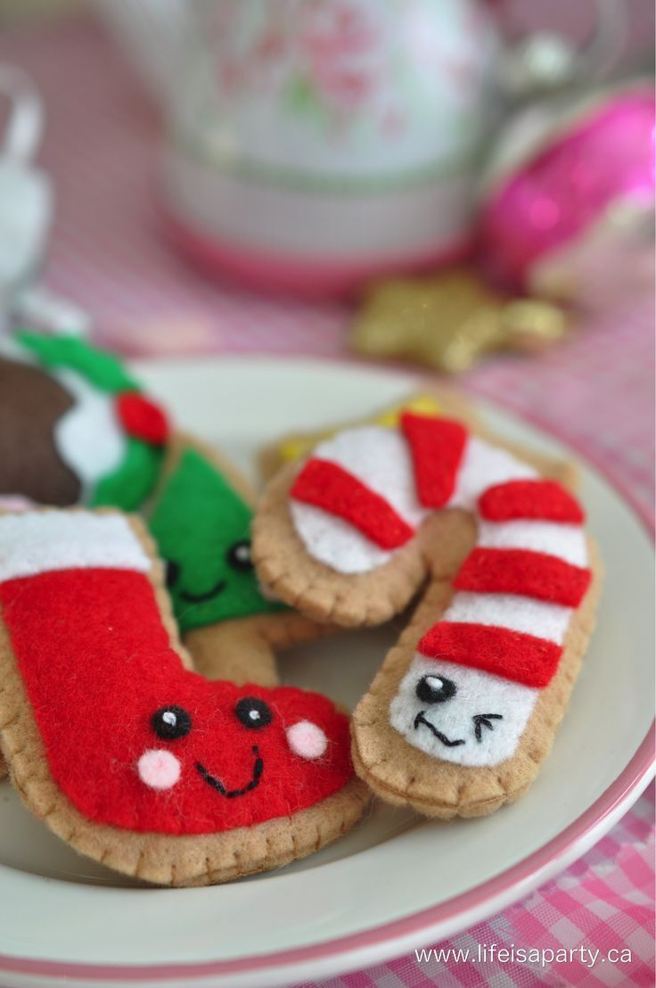Food Christmas Decorations Part - 36: Felt Food Christmas Cookies
