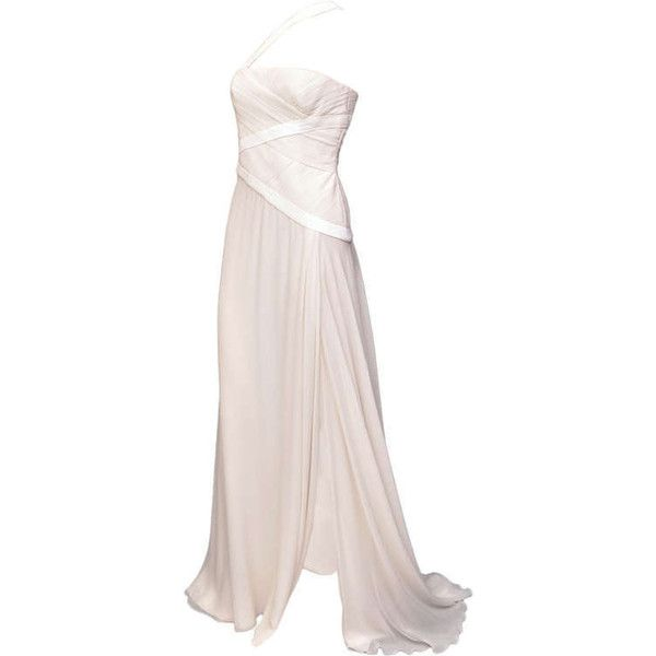 Preowned New Versace White Embroidered Silk Chiffon Gown ($5,500 ...