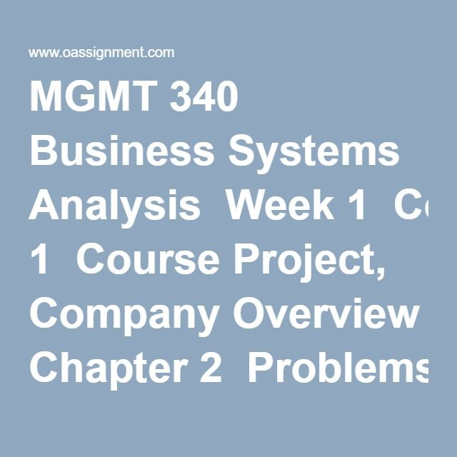 Mgmt  Business Systems Analysis Week  Course Project Company
