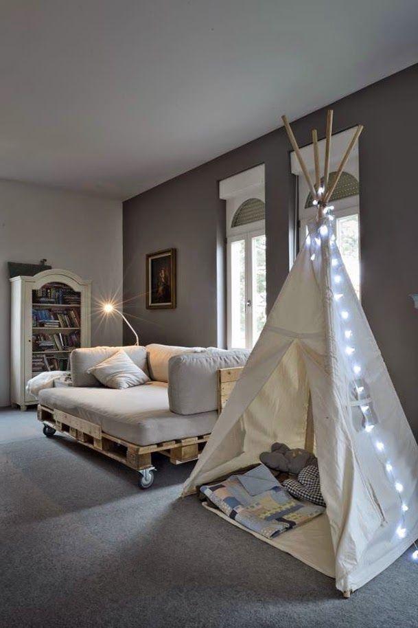 ideas-espacios-pequenos-literas-sofa-cama-palets | Home | Pinterest ...