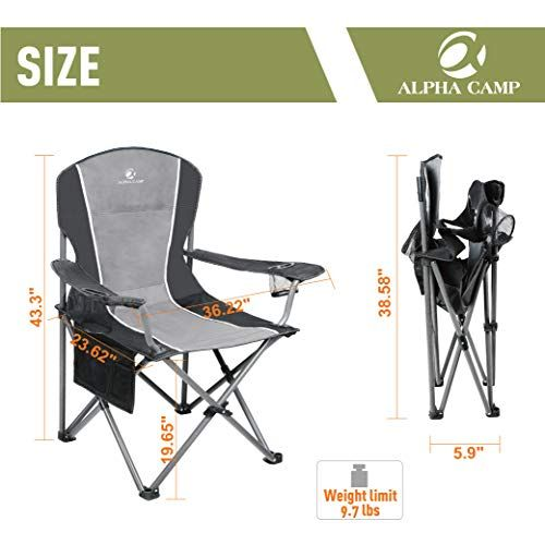 folding lawn chairs heavy duty tall patio hold 350 lbs outdoor chair alpha camp camping support oversized steel frame collapsible padded arm outdoorchairs