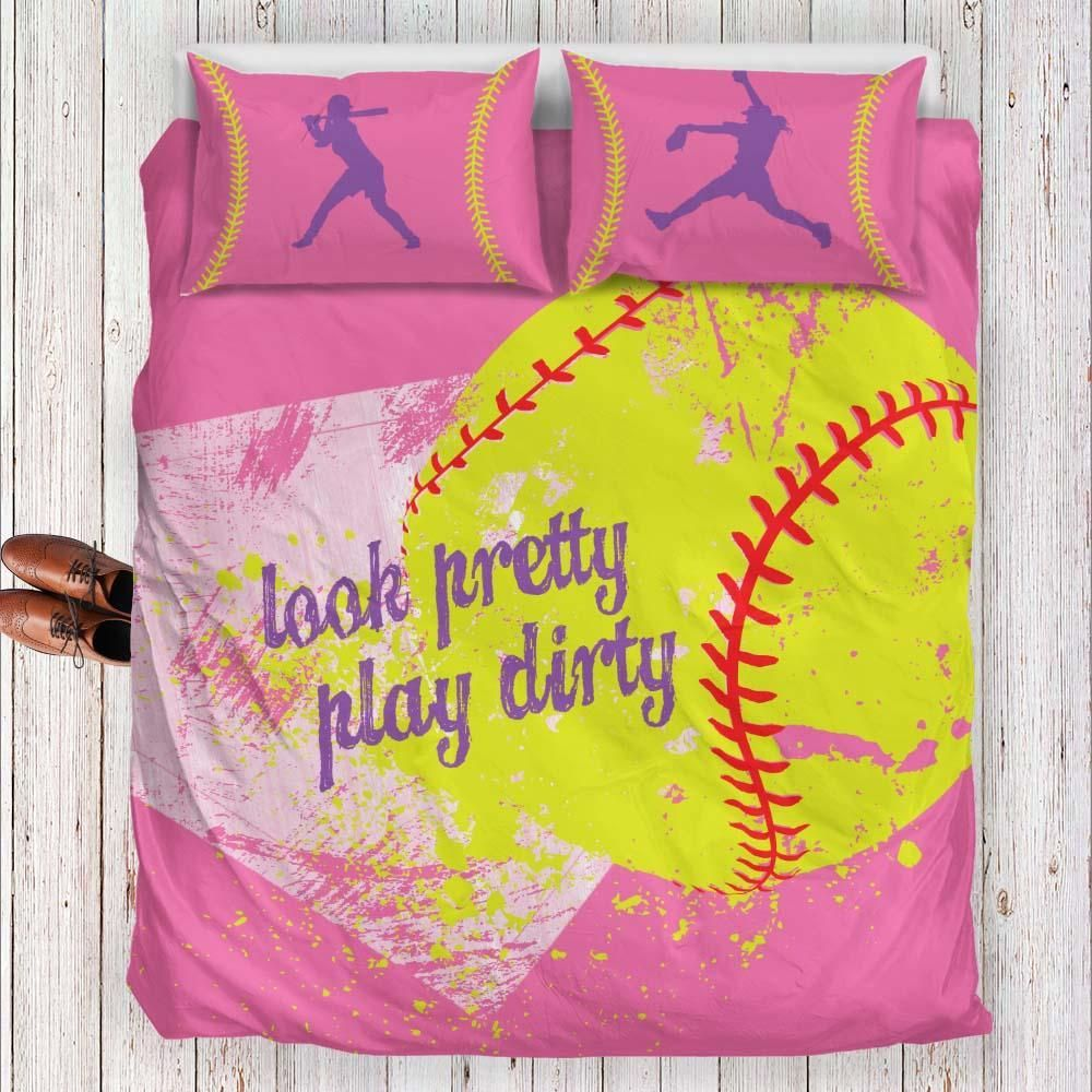 Softball Bedding Set Pink Series Bed Black Bed Linen