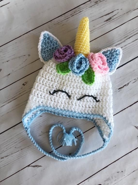 Photo of Crochet Unicorn Hat, Unicorn Beanie with Flowers, Baby Girl Fairytale Winter Hat, Baby Girl Halloween Costume