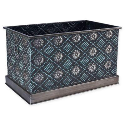 Household Essentials Large Decorative Metal Storage Bin In