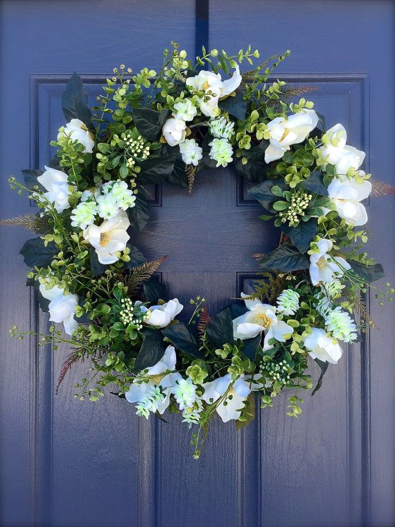 Magnolia Wreath Year Round Door Wreaths By WreathsByRebeccaB