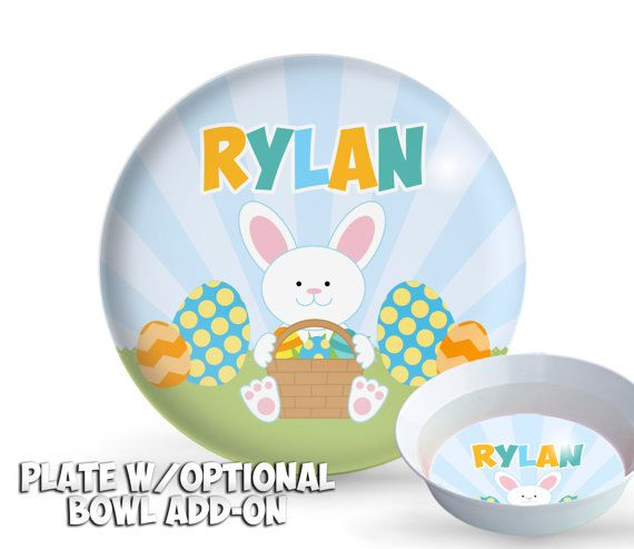 Baby boy easter bunny personalized kids plate set kids melamine baby boy easter bunny personalized kids plate set kids melamine plate set easter bunny easter plate easter basket gift baby plate negle Image collections