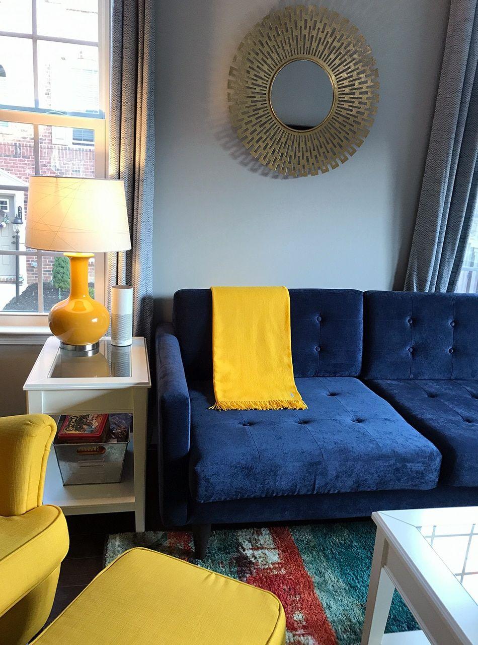 Classic Alpaca Throw Blanket 100 Baby Alpacaforsythia Yellow On Navy Couch Apartment Living Room Design Blue Living Room Living Room Inspo