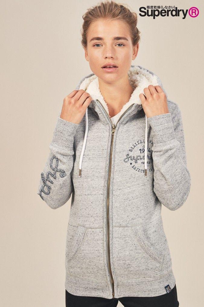 huge selection of e9ed3 ed4b4 Superdry Damen Zipper ARIA APPLIQUE ZIPHOOD Slate Grey Marl