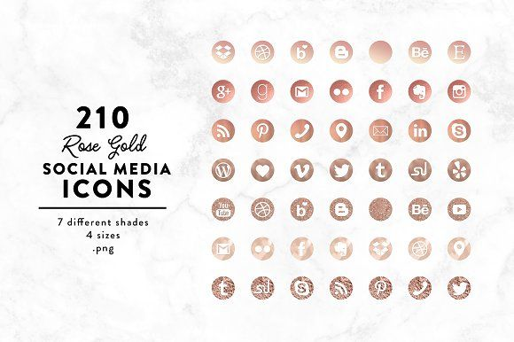 Rose Gold Social Media Icons By Fearless Confetti On Creativemarket