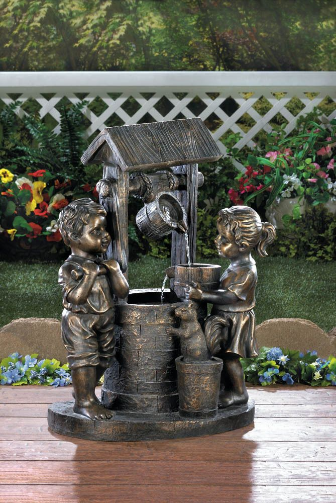 """Modern Couple Outdoor Floor Water Fountain with Light LED 47/"""" for Yard Garden"""