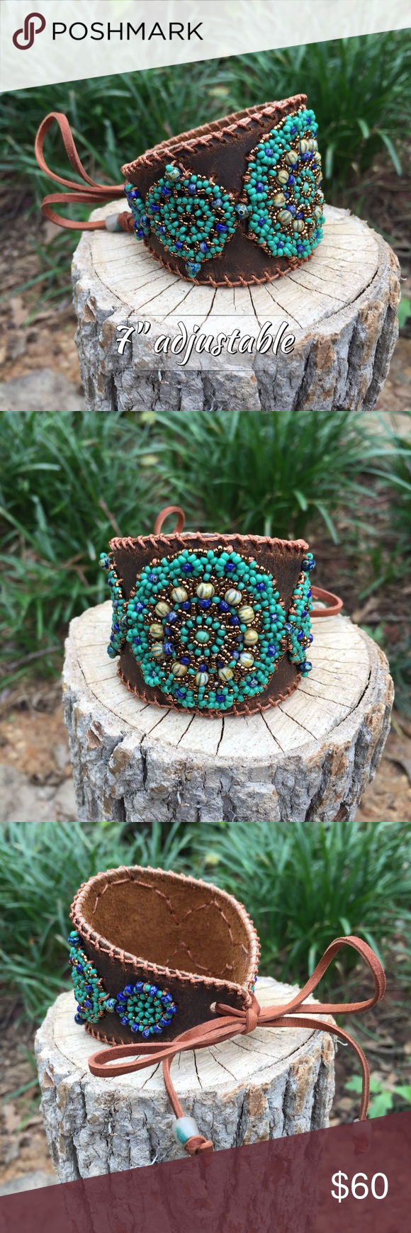 "Beaded leather cuff with tie Hand beaded and stitched sift distressed leather. Deerskin tie allows for multiple sizes. Smallest being 7"". A little less when drawn tighter. IEdesigned Jewelry Bracelets"