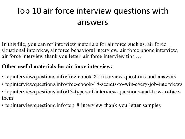 Top 10 air force interview questions with answers | Aim High ...