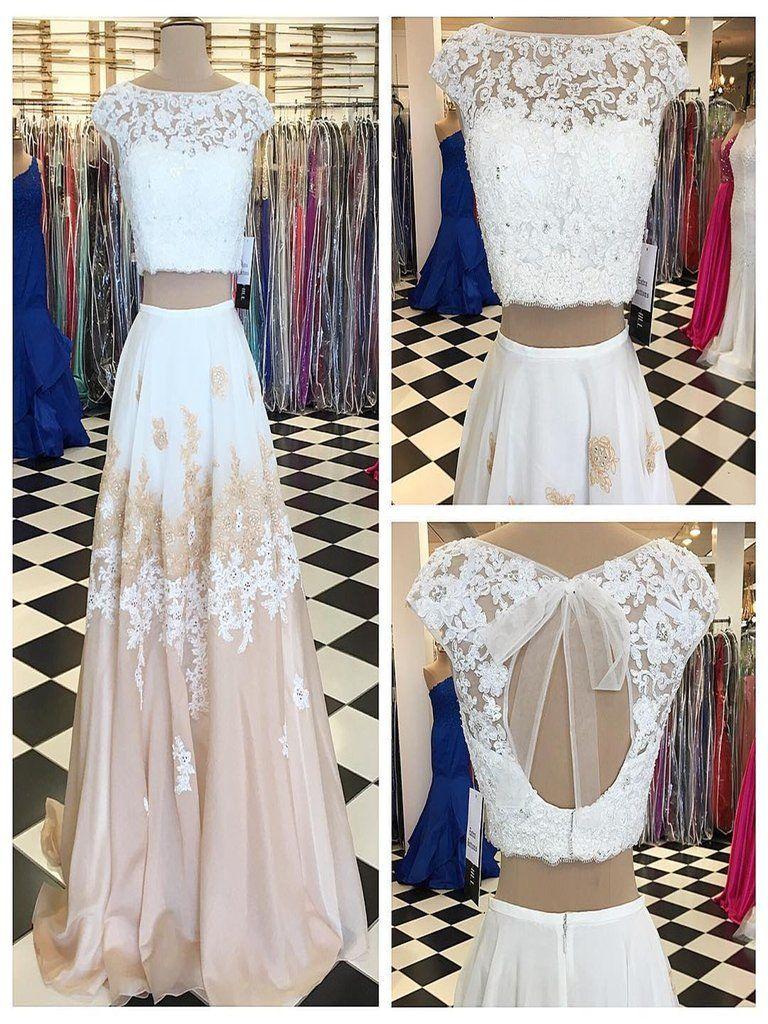Prom dresses two pieces short train chiffon prom dressevening dress