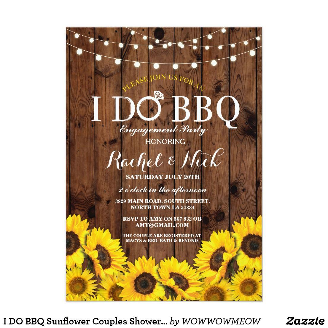 I DO BBQ Sunflower Couples Shower Rustic Invite | Couple shower ...
