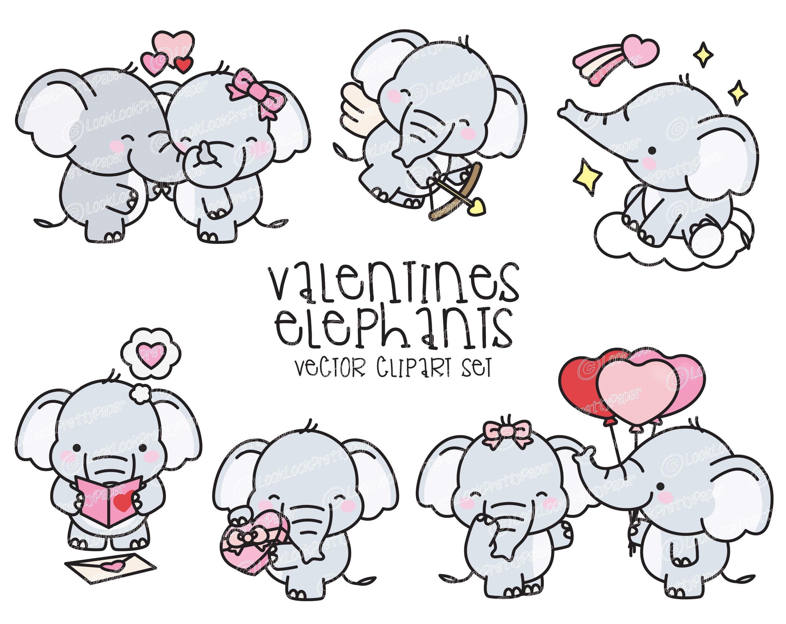 Premium Vector Clipart Kawaii Valentines Elephants Valentines