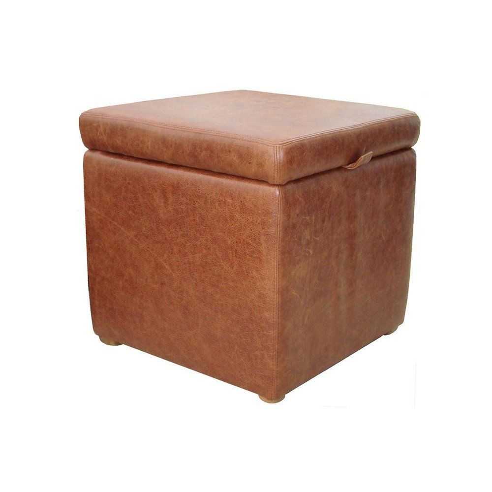 Cube Storage Ottoman In Aged Rust Brown Leather Cube Storage Storage Ottoman Ottoman