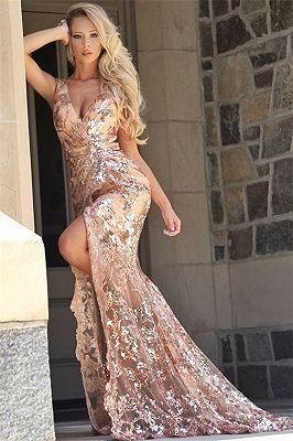 Elegante Lange Abendkleider mit Glitzer   Abendkleid Gold ...