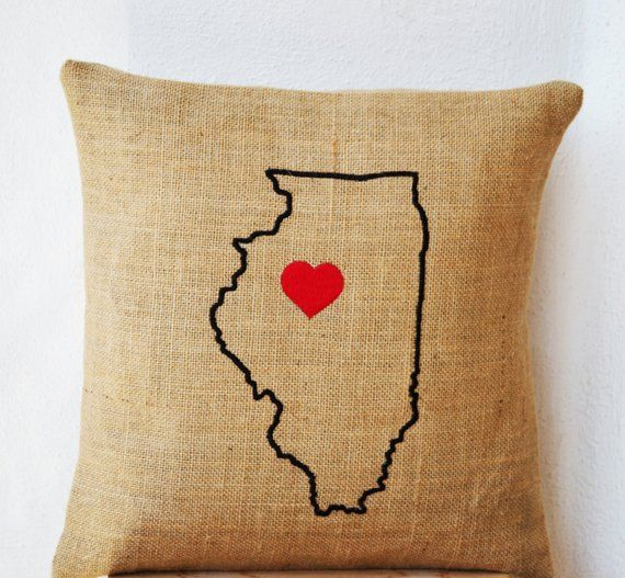 Custom Burlap Pillows Personalized State Map Pillow Usa State Map