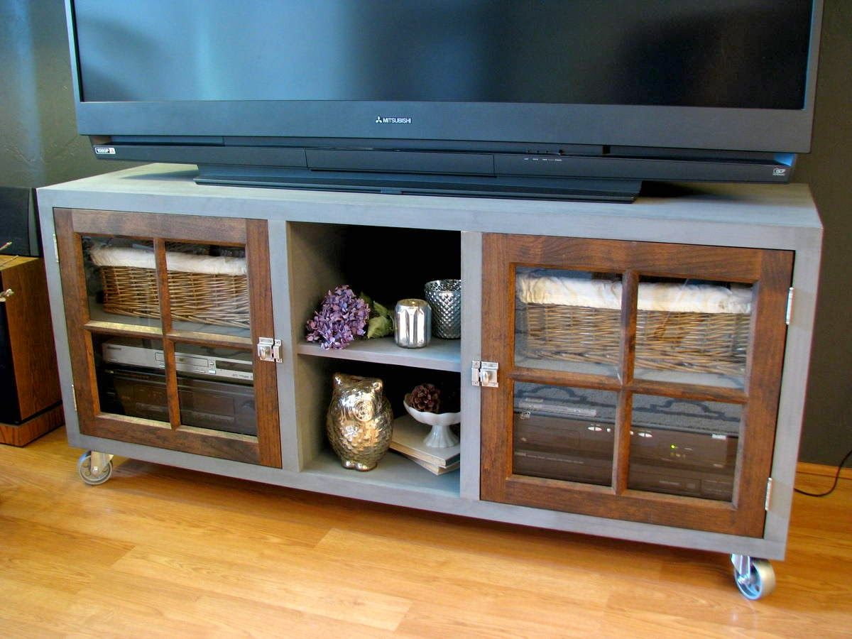Diy Media Cabinet Done By Mimi At Blue Roof Cabin Using Our Doors