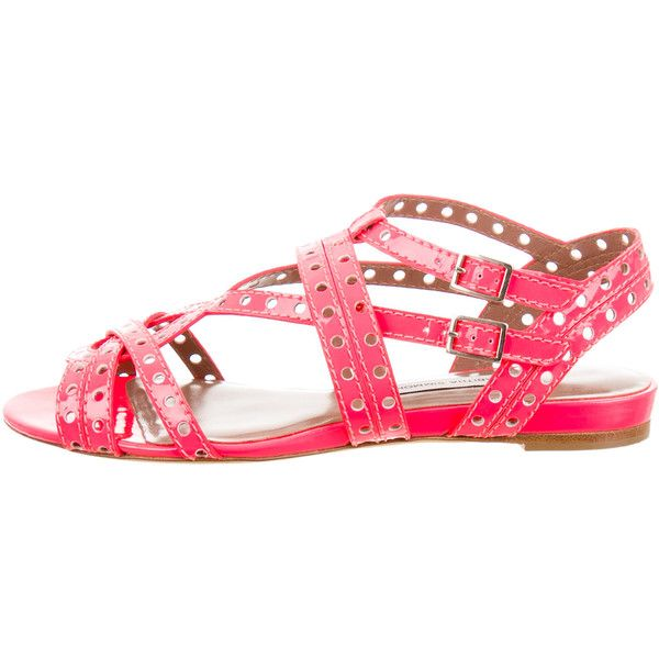 Pre-owned Tabitha Simmons Neon Multistrap Sandals ($155) ❤ liked on Polyvore featuring shoes, sandals, pink, buckle sandals, neon sandals, ankle tie sandals, patent leather sandals and block heel shoes