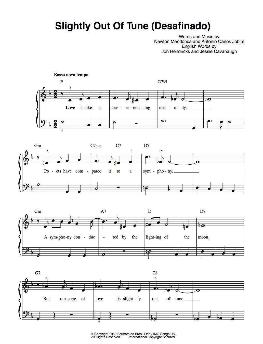 Desafinado Outoftune Jobim Easy Piano With Englishlyrics