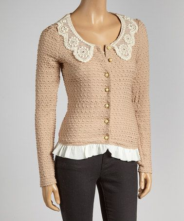 Look what I found on #zulily! Taupe Pearly Lace Cardigan #zulilyfinds