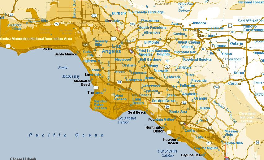map of Los angeles Drywood termites in the USA and