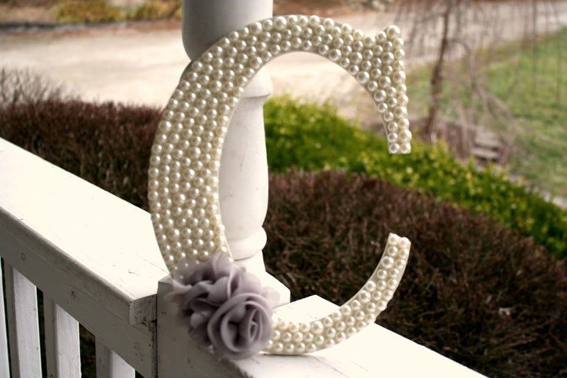 Pearl Embellished Wooden Home Decor Letters With Flower Applique. $24.99,  Via Etsy.