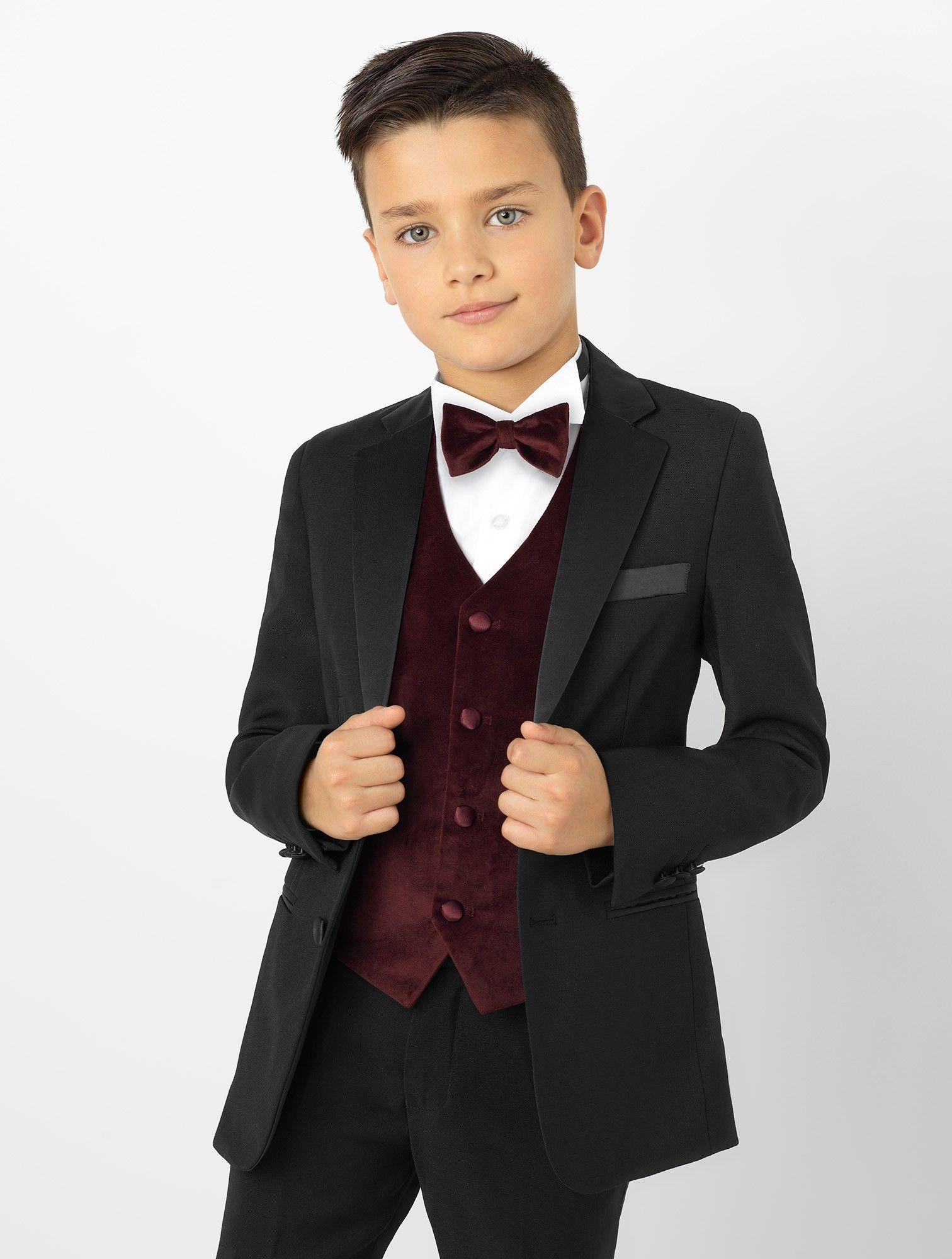 Boys tuxedo & burgundy velvet waistcoat James in 2020
