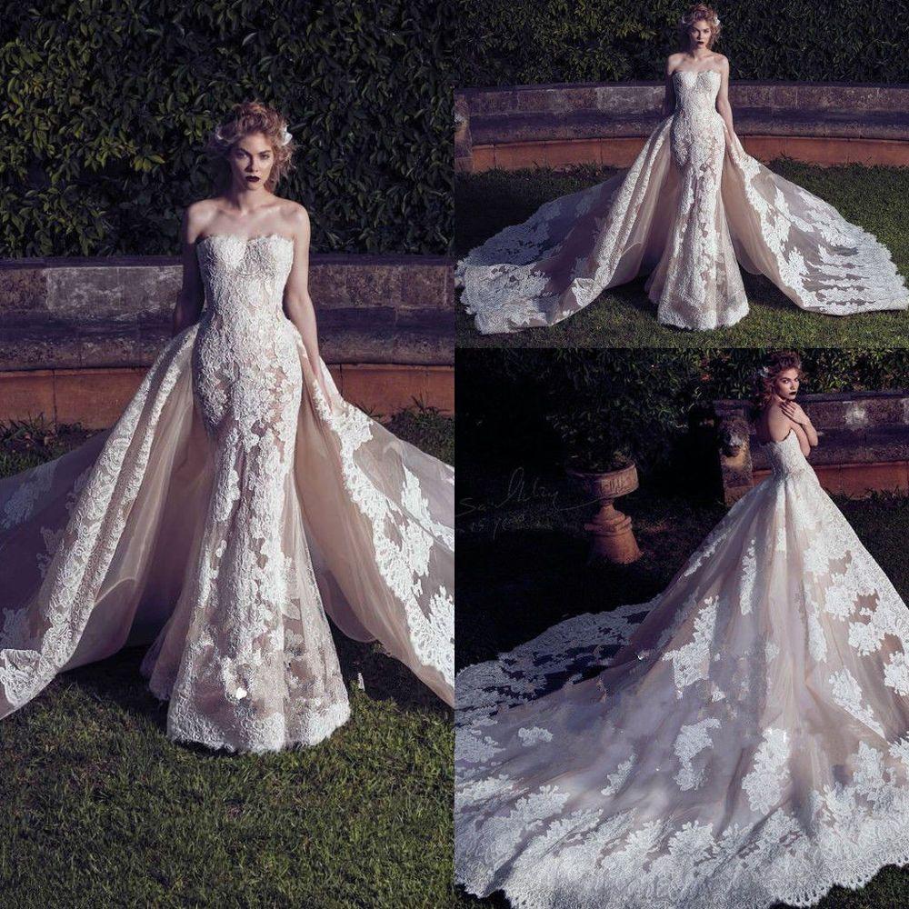 Mermaid wedding dress with detachable train  Strapless Lace Wedding Dress Detachable Train Cathedral Bridal Gowns