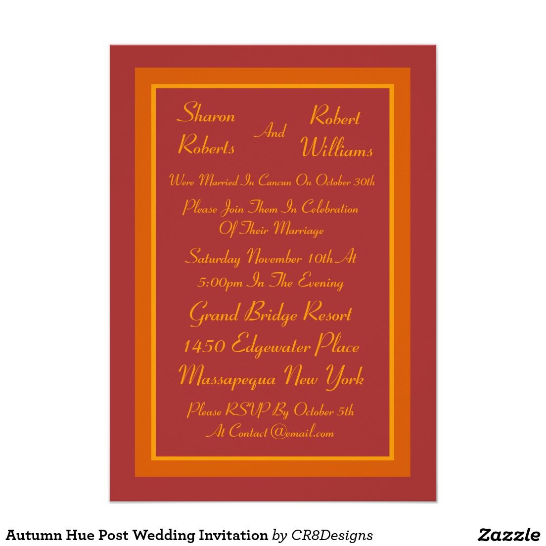 Autumn Hue Post Wedding Invitation | Unique invitations, Destination ...