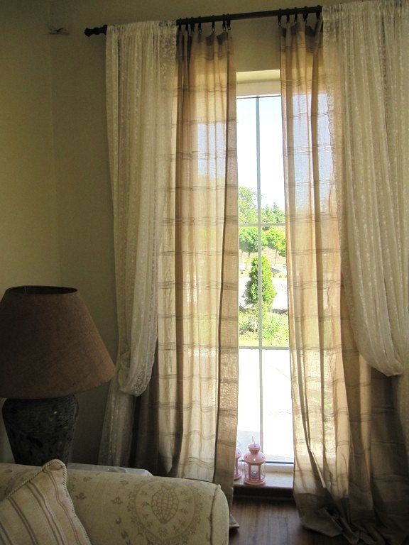 Brown Stripe Curtain Panel 4 Pcs Narrow Window Door Lightweight