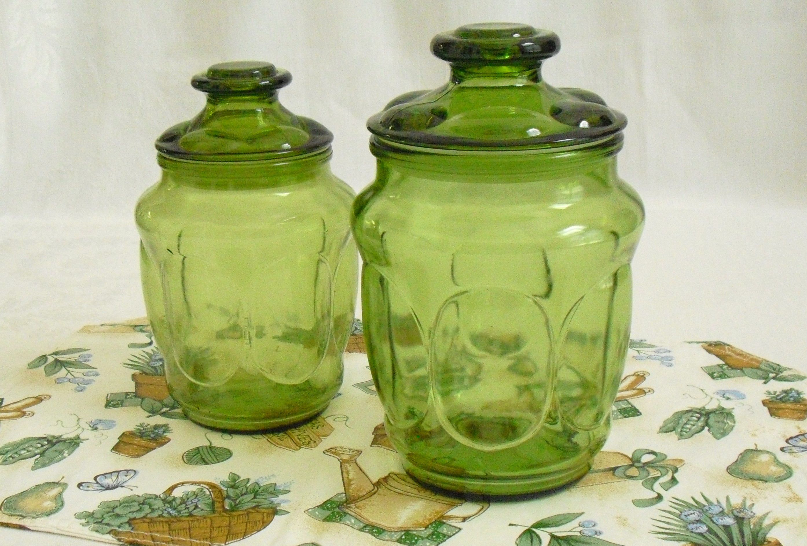 Superieur Set Of 2 Vintage L E Smith Green Glass Canister Jars, Matching Lid,  Apothecary,