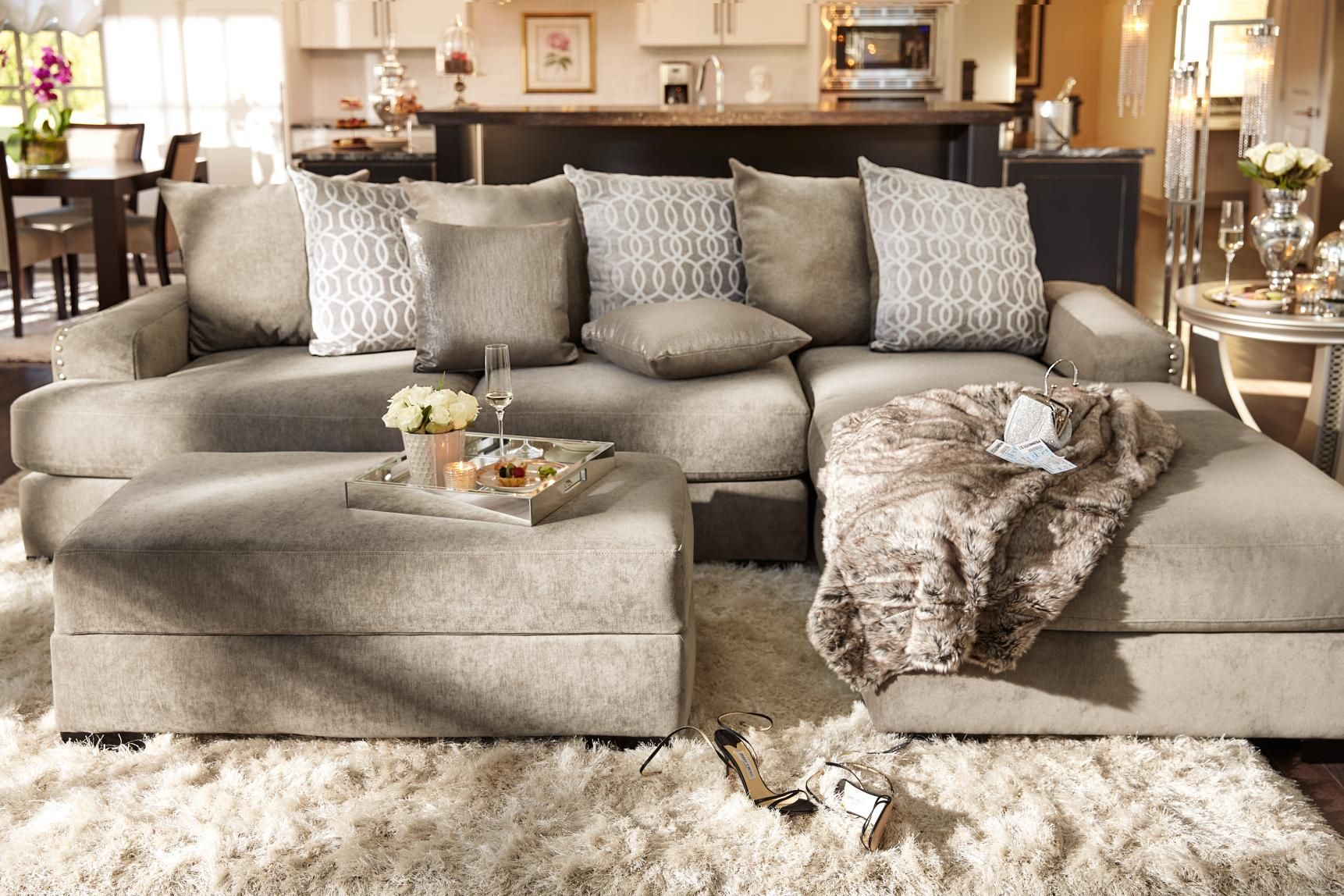 LIVING ROOM: Stay On Trend With The Uber Glam Tempo Collection With A  Platinum Finish Only At Value City Furniture!