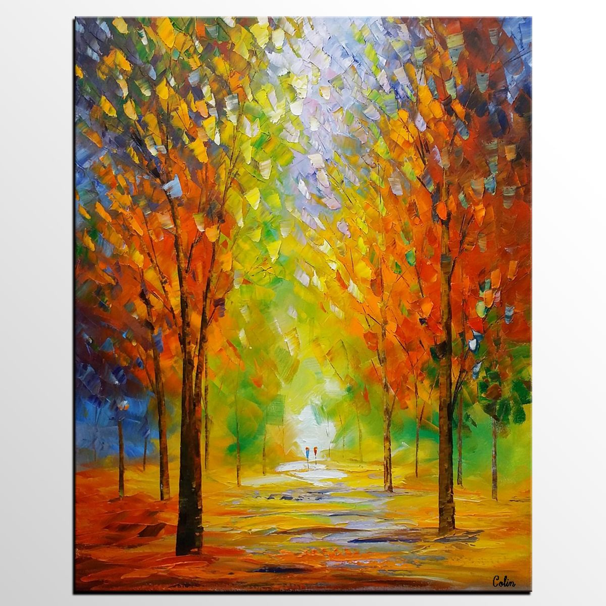 Landscape Painting, Autumn Tree Painting, Original Wall Art, Large ...