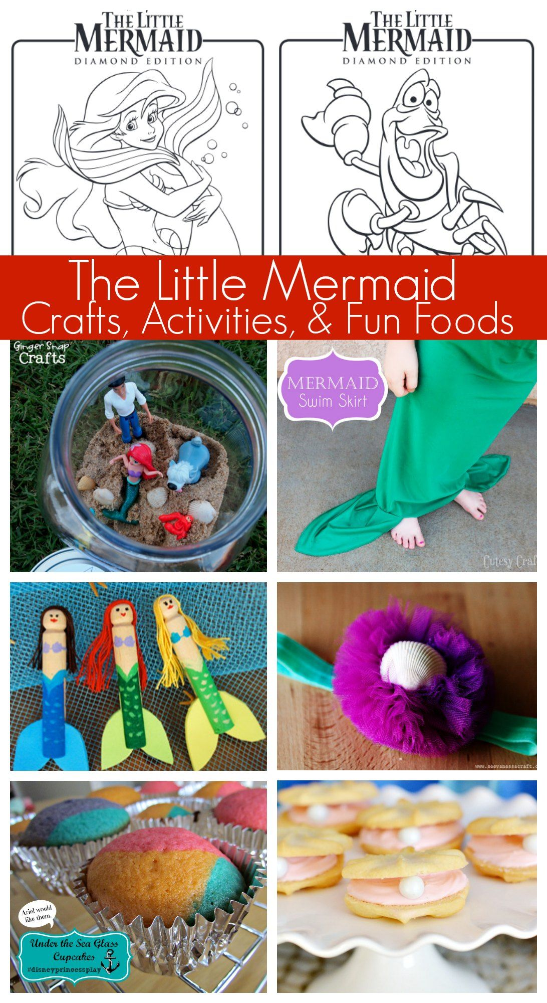 Disneyus the little mermaid activities coloring pages crafts