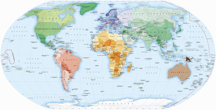 Map Illustrations - Political Maps showing the structure of the World's nations