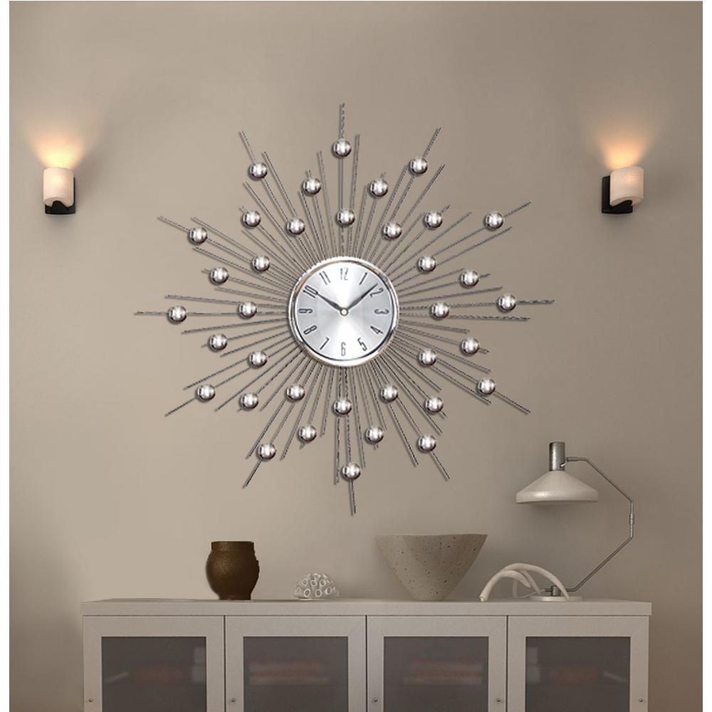 Litton Lane 20 In Sunburst Mirrored Wall Clock 66965 The Home Depot Sunburst Mirror Mirror Wall Clock Wall Clocks Living Room