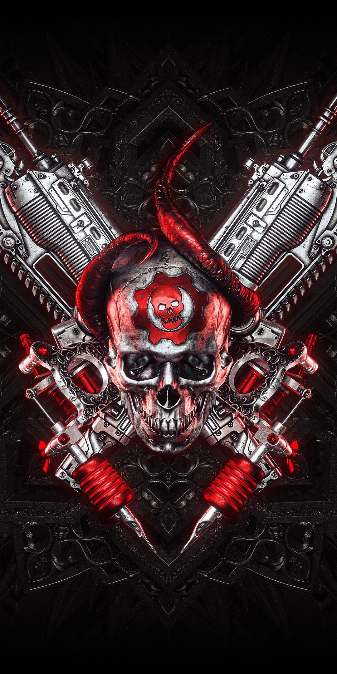 1080x2160 Gears Of War Skull And Guns Logo Wallpaper Descargas