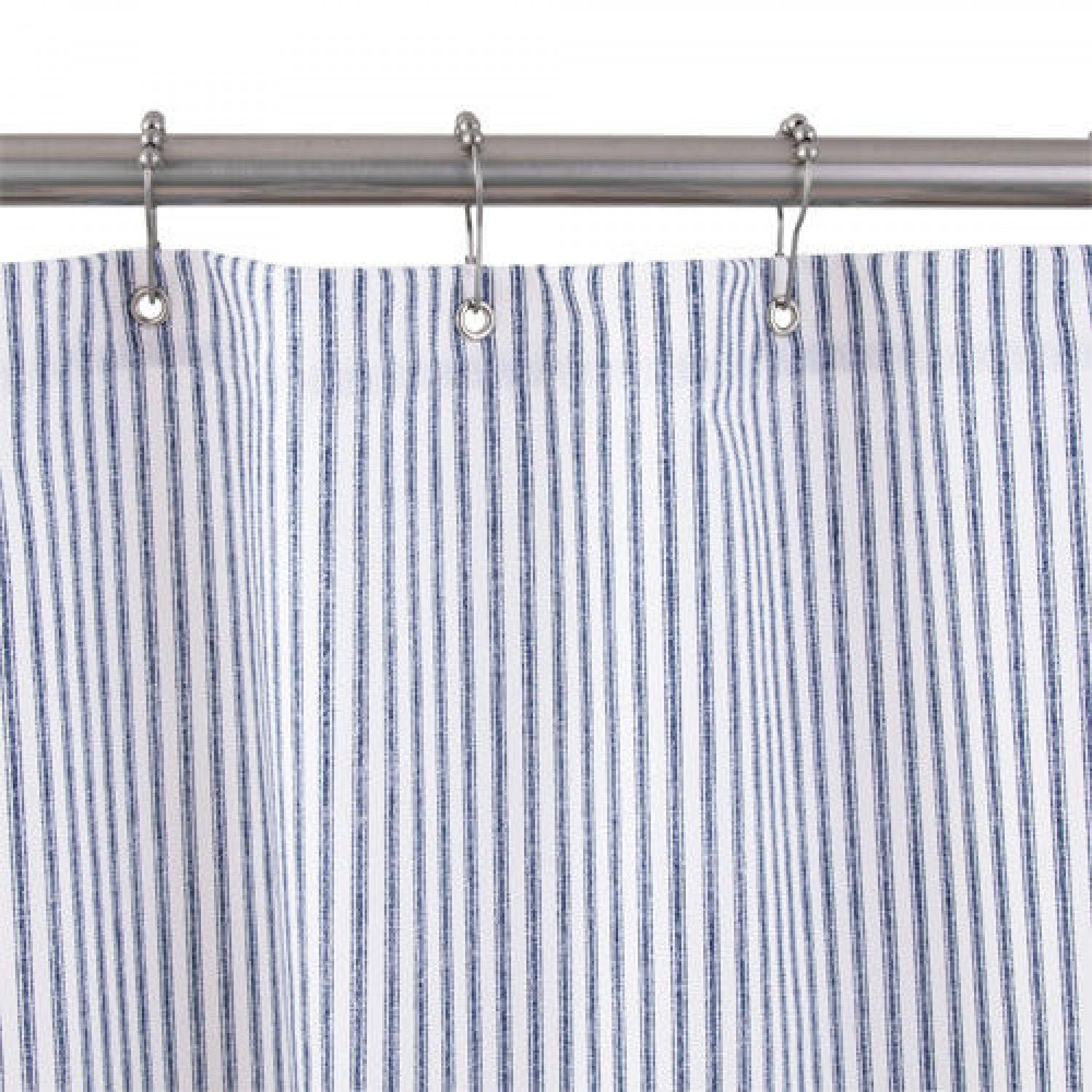 Cotton Duck Shower Curtain Blue Tick Stripe Fabric Shower