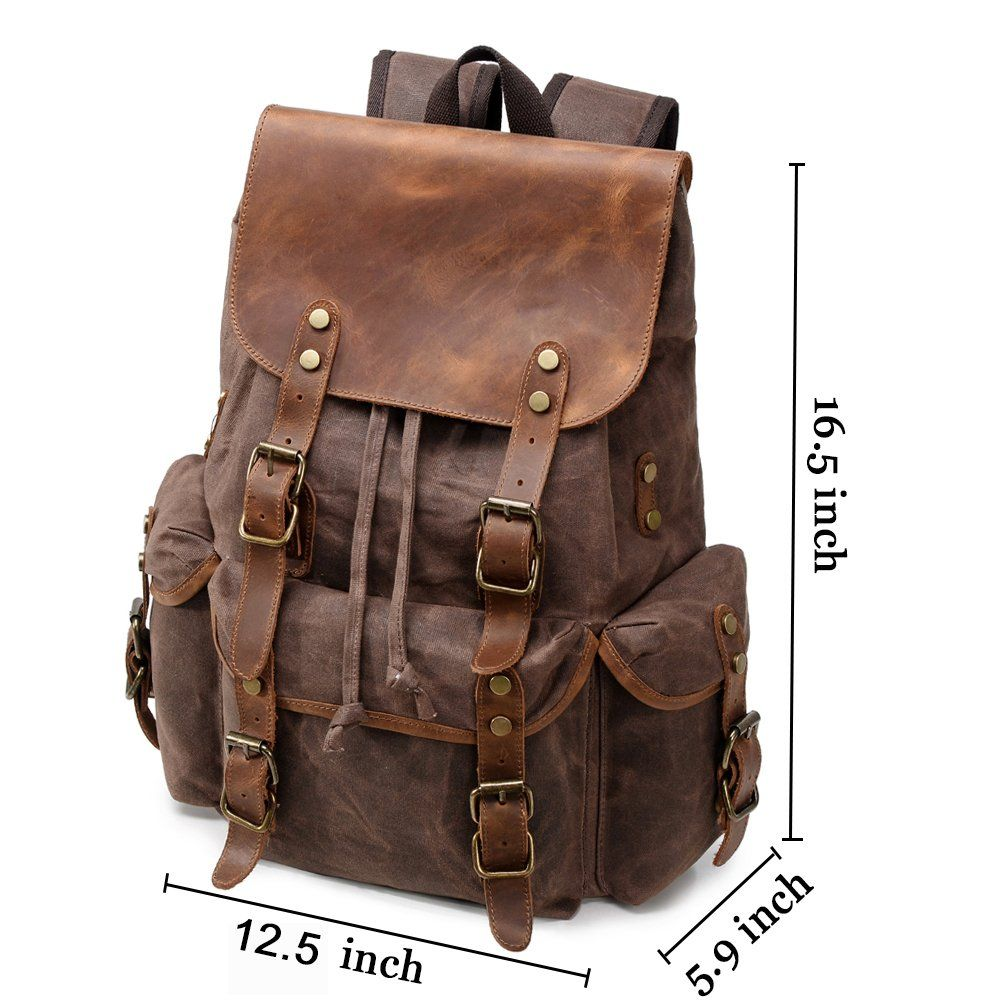 078f79e56379 Kemy's Waxed Backpack for Men Vintage Wax Canvas Laptop Backpacks School  Top Flap