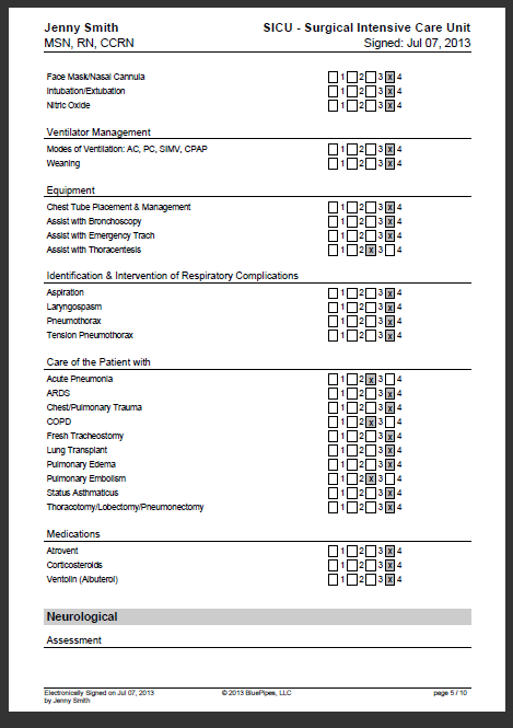 sample nursing skills checklist