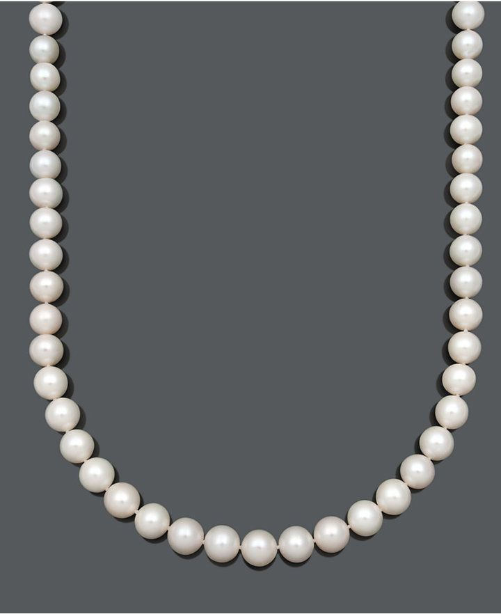 Belle de Mer Aa+ Cultured Freshwater Pearl Strand Necklace (10-1/2-11-1/2mm) in 14k Gold
