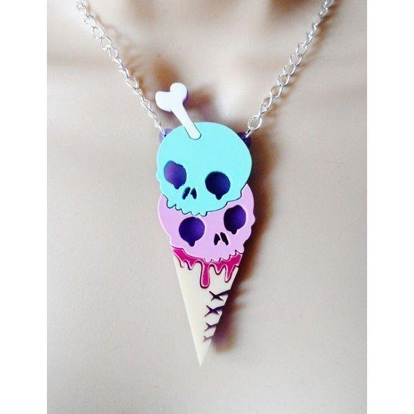 Pastel goth ice cream necklace via Polyvore featuring jewelry, necklaces, cream necklace, gothic jewellery, pastel goth necklace, pastel jewelry and goth jewelry